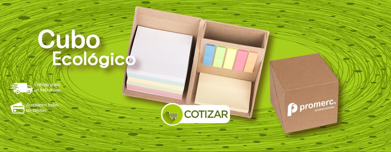 Cubo Ecológico con Notas Adhesivas Promocionales Promerc